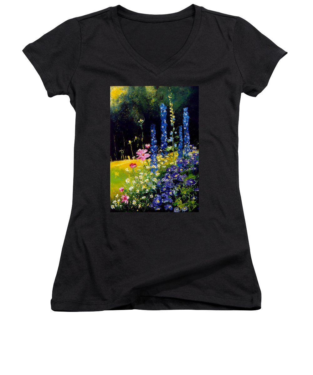 Poppies Women's V-Neck T-Shirt featuring the painting Delphiniums by Pol Ledent