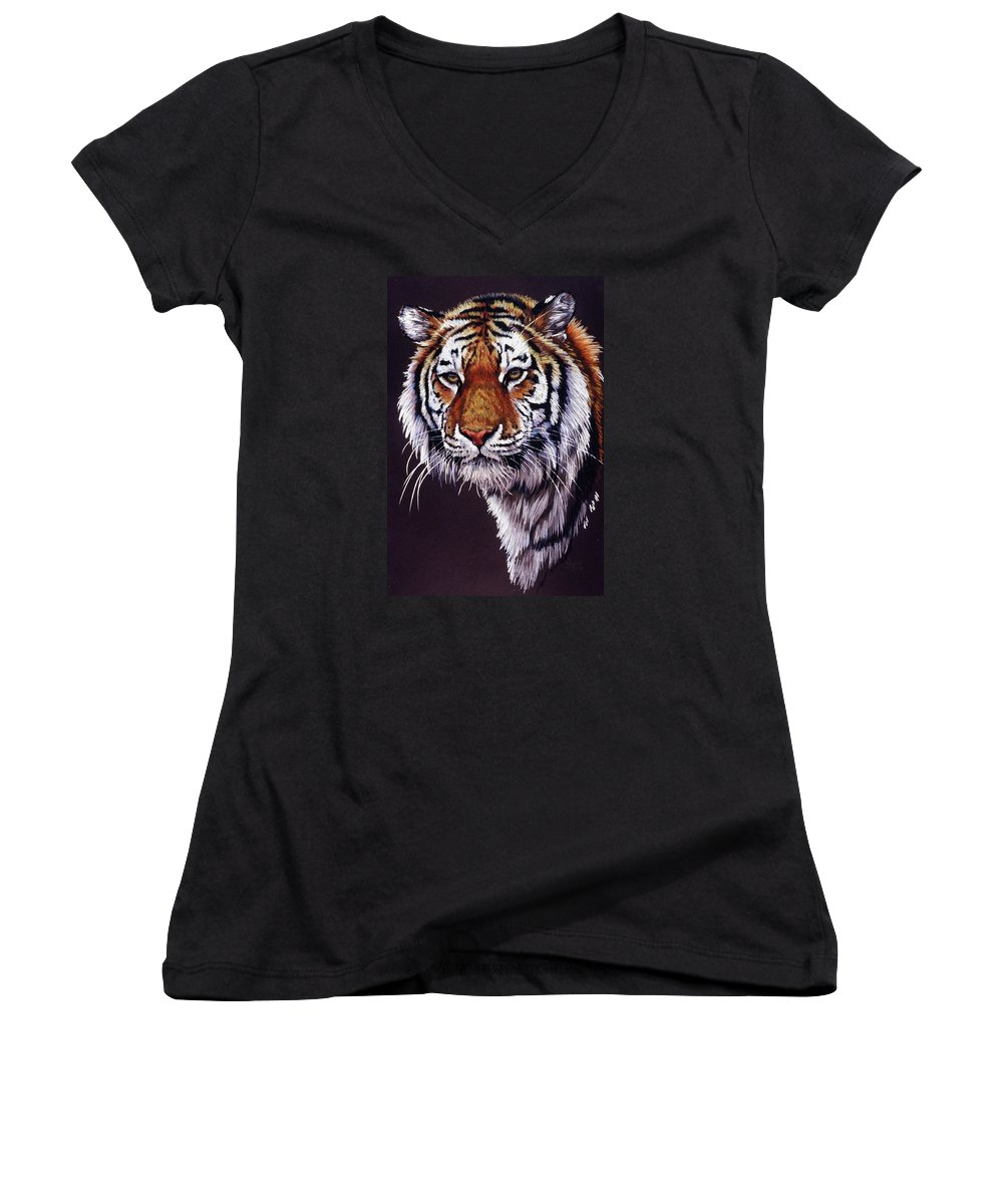 Tiger Women's V-Neck (Athletic Fit) featuring the drawing Desperado by Barbara Keith