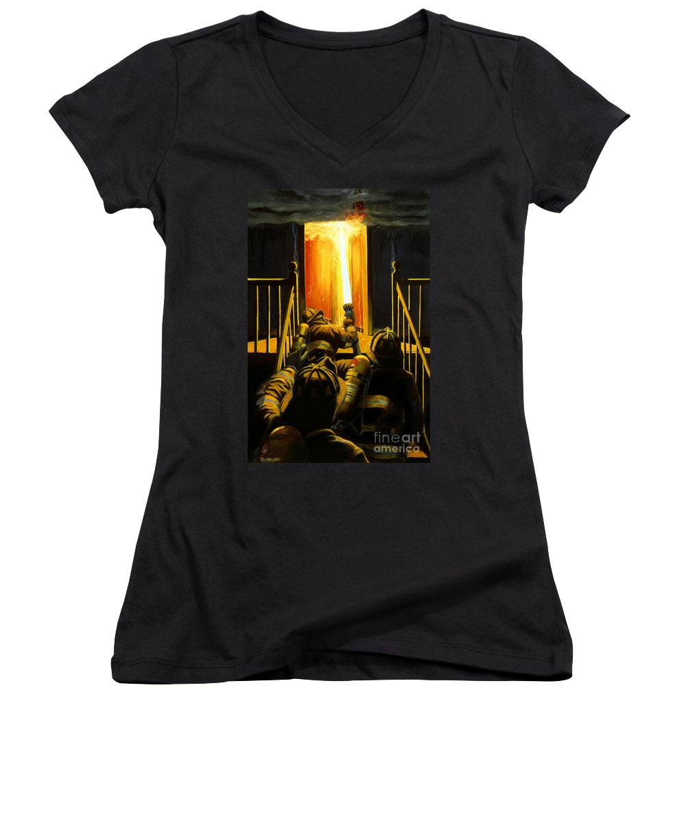 Firefighting Women's V-Neck (Athletic Fit) featuring the painting Devil's Stairway by Paul Walsh