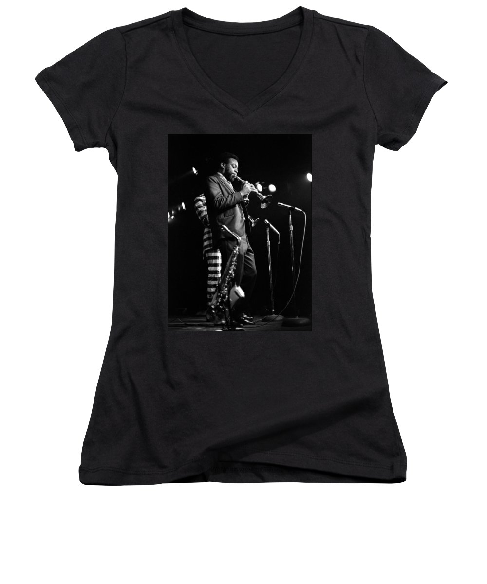 Ornette Coleman Women's V-Neck (Athletic Fit) featuring the photograph Dewey Redman On Musette by Lee Santa