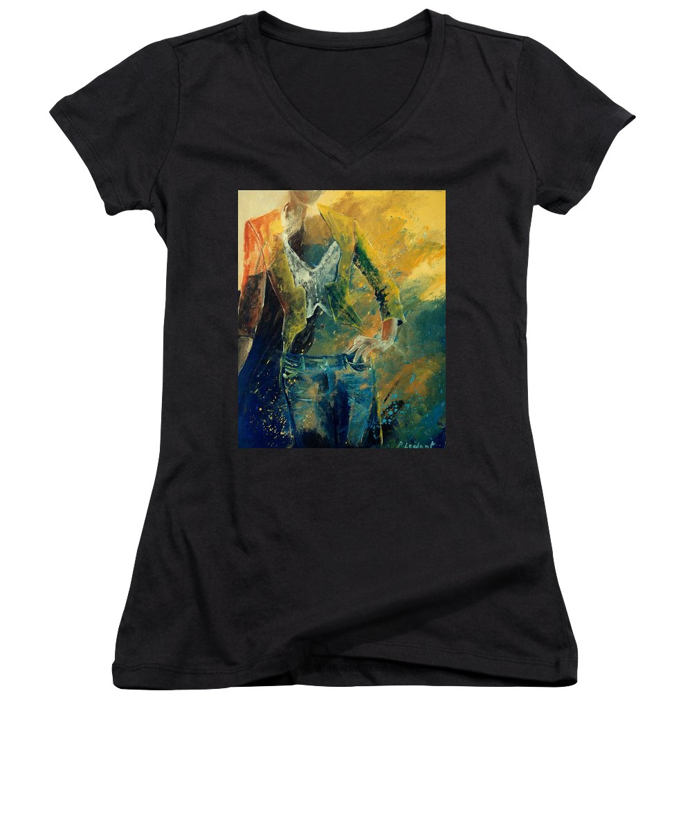 Woman Girl Fashion Women's V-Neck T-Shirt featuring the painting Dinner Jacket by Pol Ledent