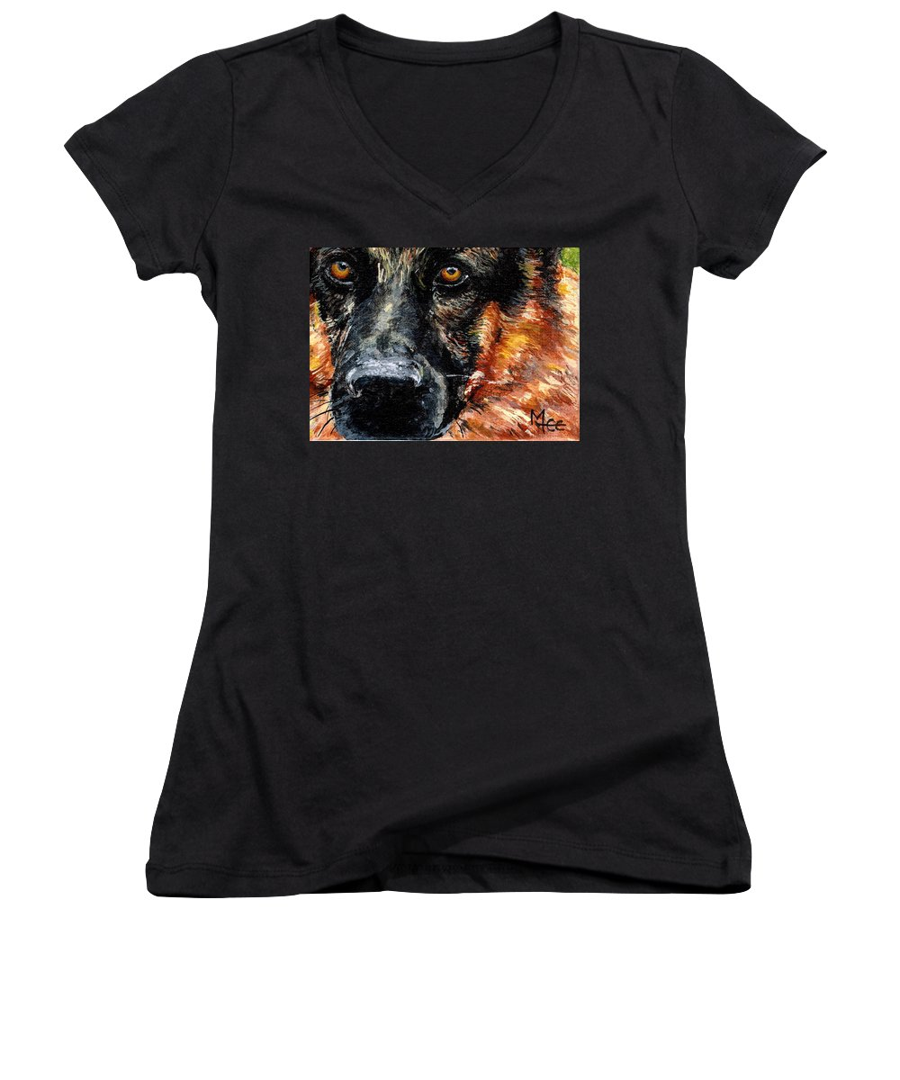 Charity Women's V-Neck T-Shirt featuring the painting Dixie by Mary-Lee Sanders