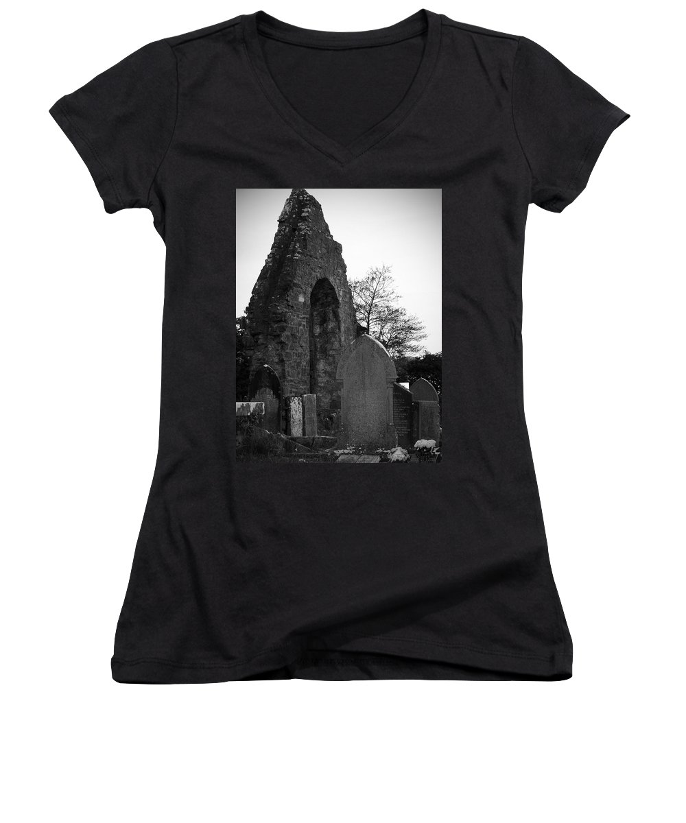 Irish Women's V-Neck (Athletic Fit) featuring the photograph Donegal Abbey Ruins Donegal Ireland by Teresa Mucha