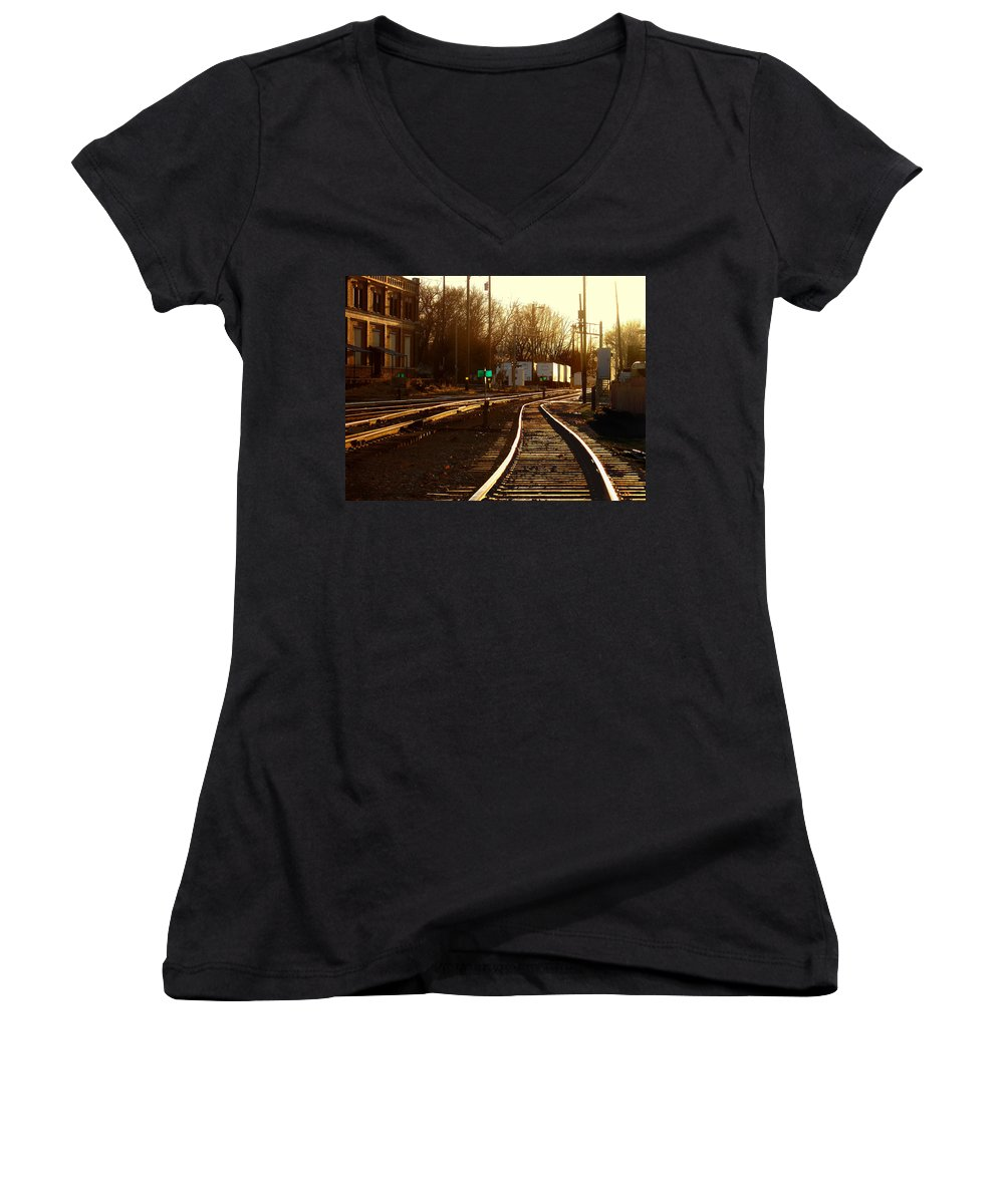 Landscape Women's V-Neck T-Shirt featuring the photograph Down The Right Track 2 by Steve Karol