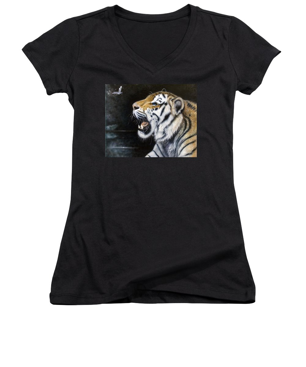 Tiger Women's V-Neck T-Shirt featuring the painting Dragonfly by Sandi Baker