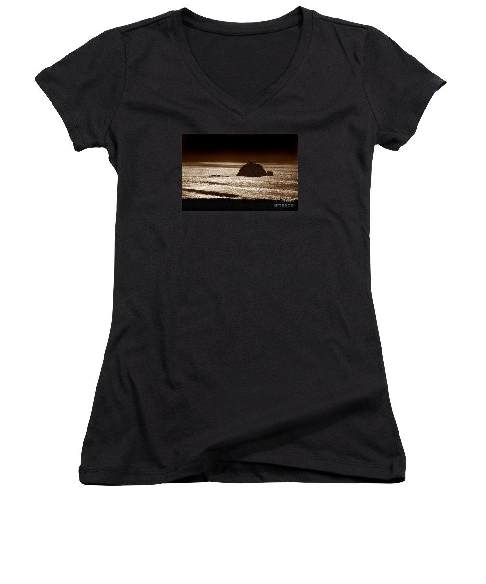 Big Sur Women's V-Neck T-Shirt featuring the photograph Drama On Big Sur by Michael Ziegler
