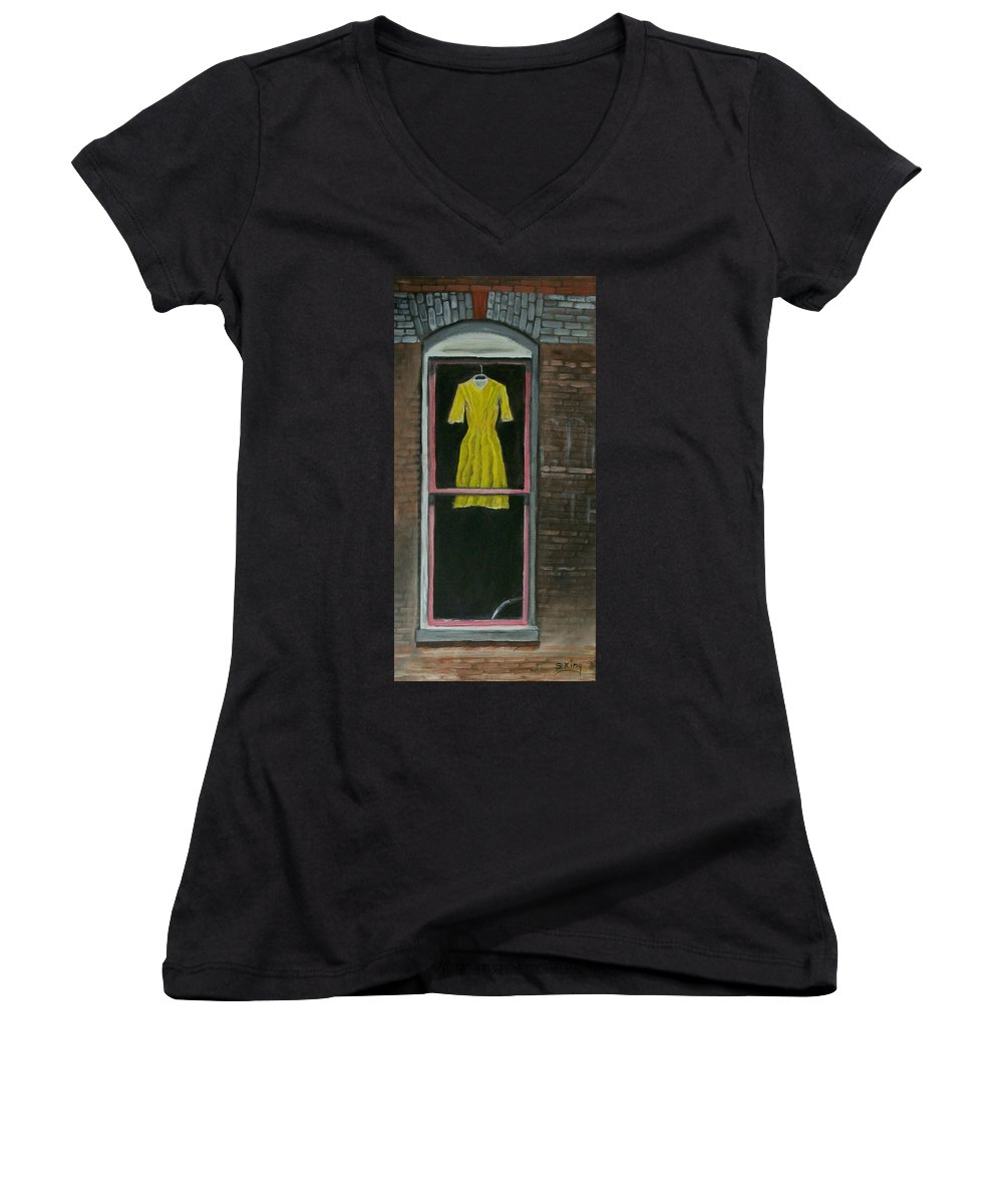Original Women's V-Neck T-Shirt featuring the painting Dress Up by Stephen King