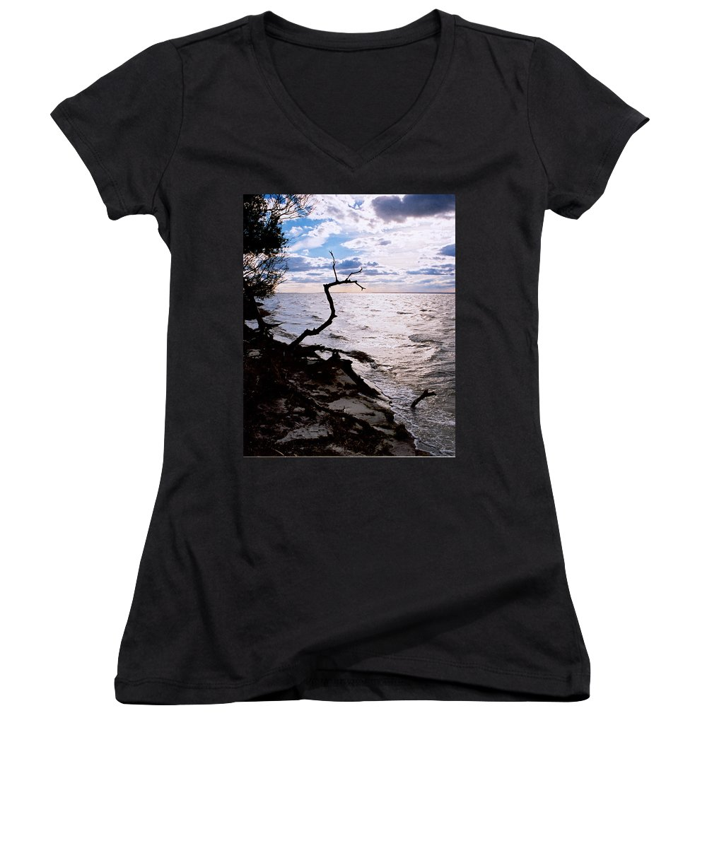 Barnegat Women's V-Neck (Athletic Fit) featuring the photograph Driftwood Dragon-barnegat Bay by Steve Karol
