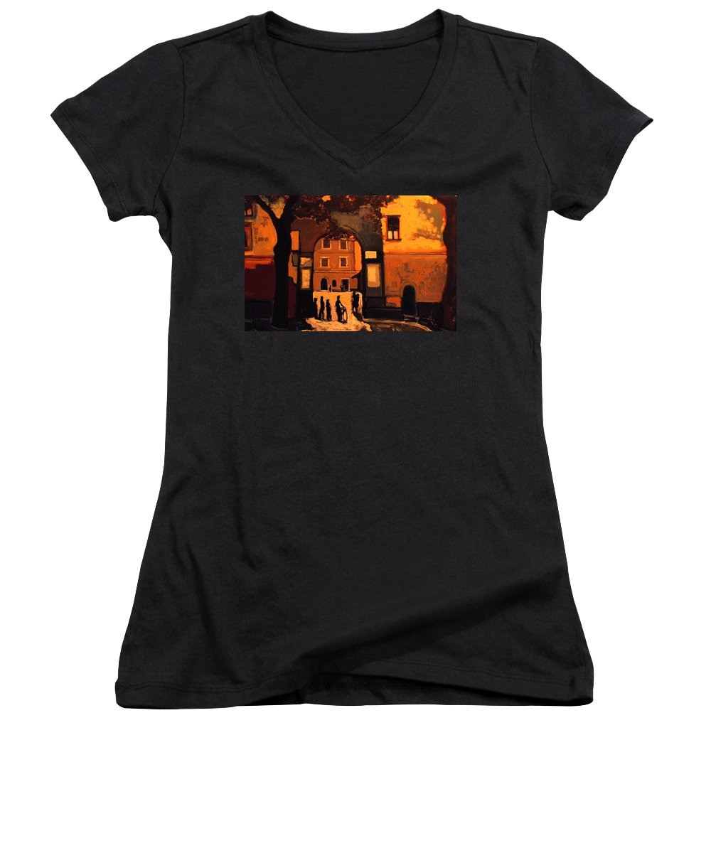 Cityscape Women's V-Neck T-Shirt featuring the painting Dusk by Kurt Hausmann