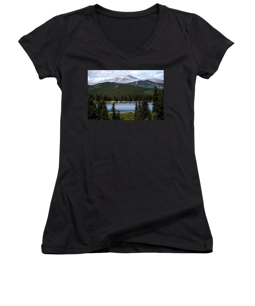 Colorado Women's V-Neck T-Shirt featuring the photograph Echo Lake Colorado by Marilyn Hunt