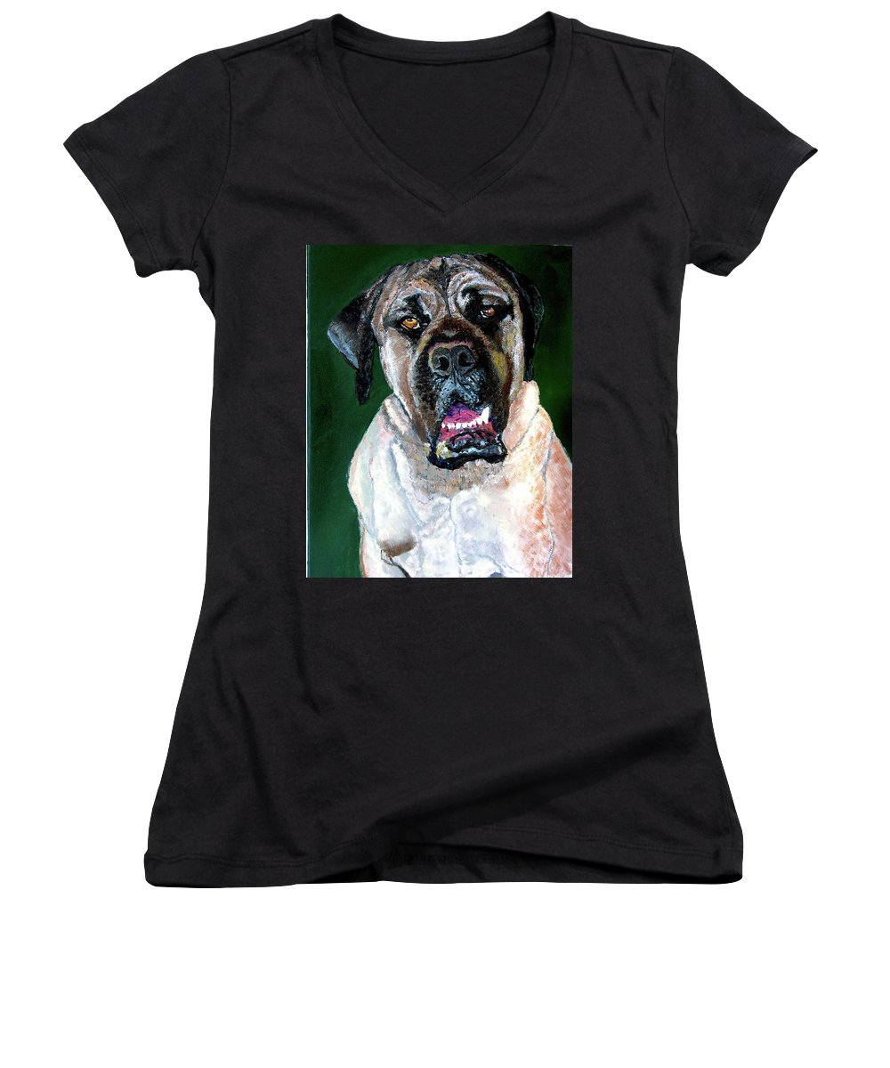 Dog Portrait Women's V-Neck T-Shirt featuring the painting Ely by Stan Hamilton