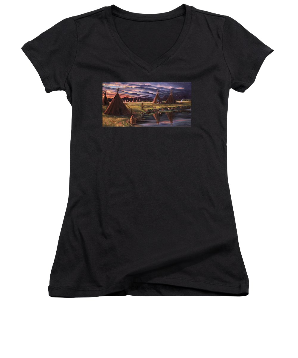 Native American Women's V-Neck T-Shirt featuring the painting Encampment At Dusk by Nancy Griswold