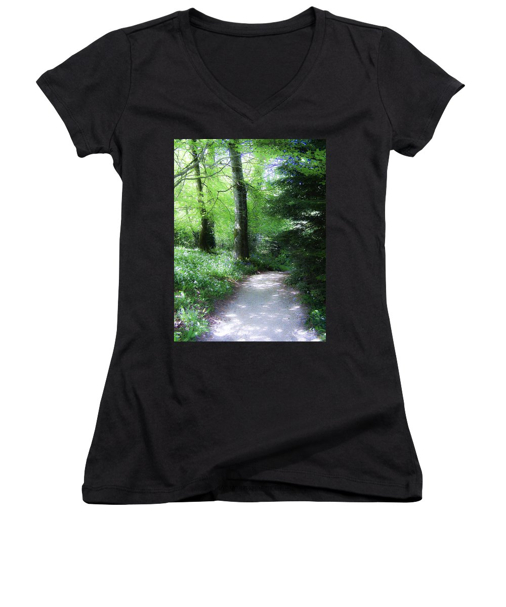 Ireland Women's V-Neck T-Shirt featuring the photograph Enchanted Forest At Blarney Castle Ireland by Teresa Mucha