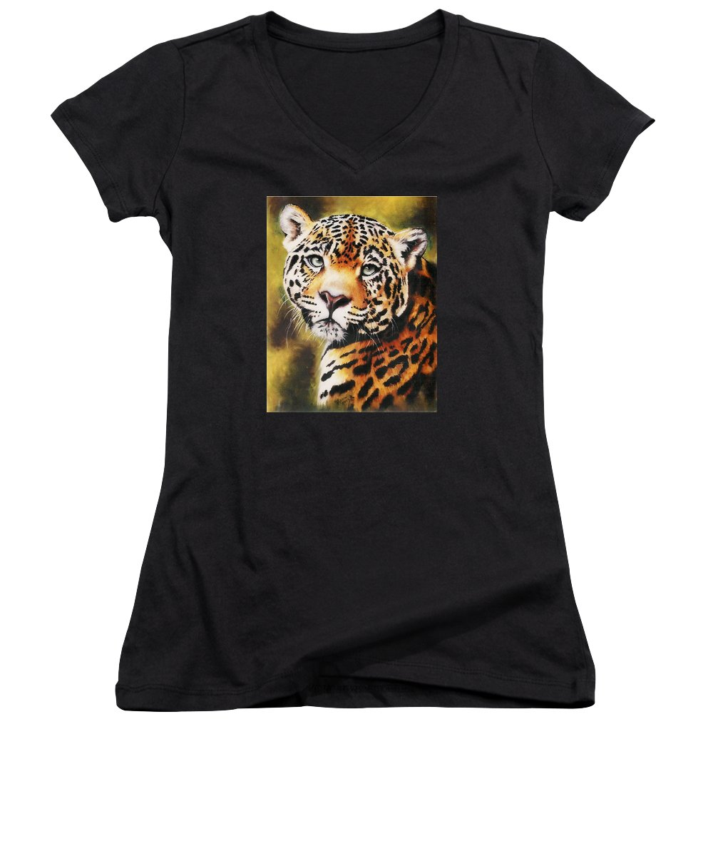 Jaguar Women's V-Neck (Athletic Fit) featuring the pastel Enchantress by Barbara Keith