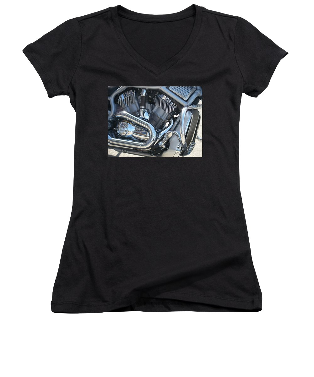 Motorcycle Women's V-Neck (Athletic Fit) featuring the photograph Engine Close-up 1 by Anita Burgermeister