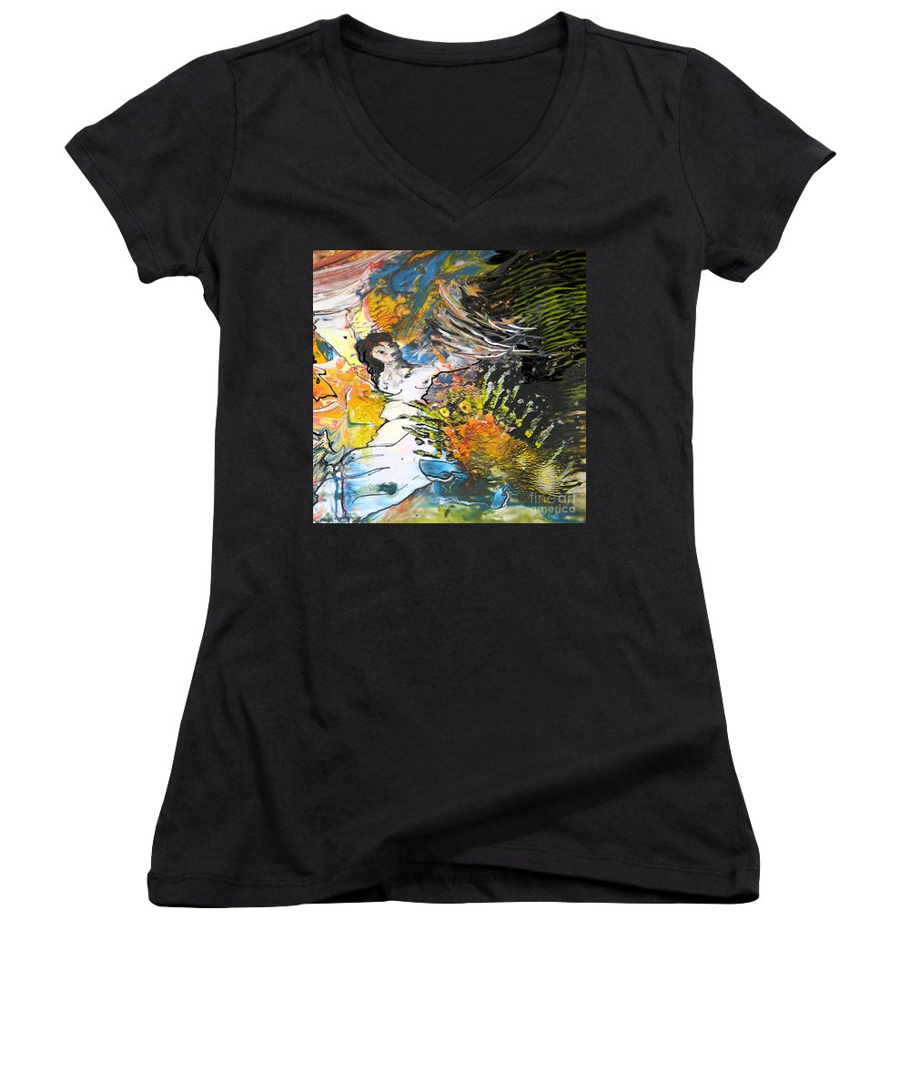 Miki Women's V-Neck T-Shirt featuring the painting Erotype 07 2 by Miki De Goodaboom
