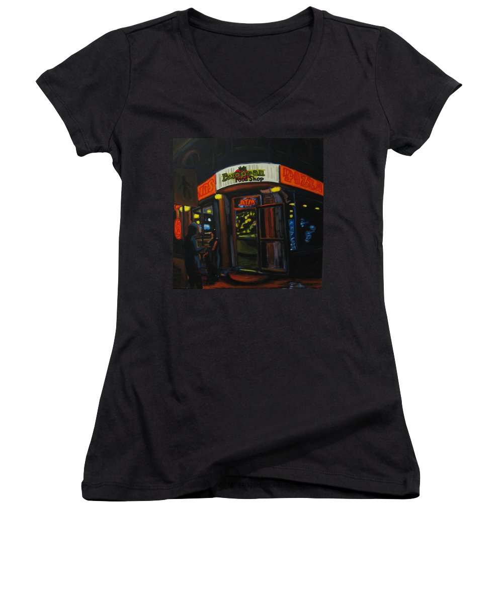 City Women's V-Neck (Athletic Fit) featuring the painting European Food Shop by John Malone