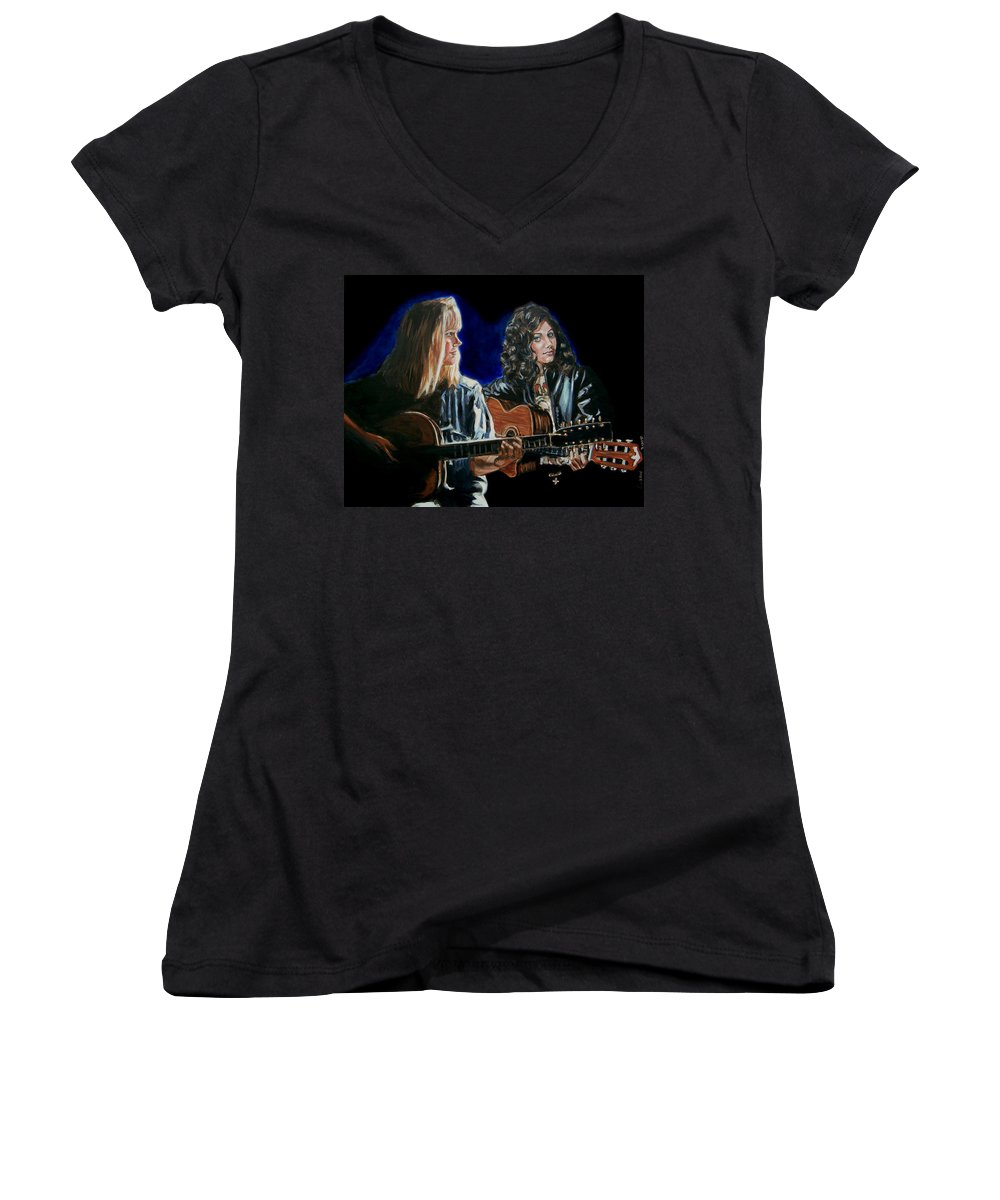 Katie Melua Women's V-Neck T-Shirt featuring the painting Eva Cassidy And Katie Melua by Bryan Bustard