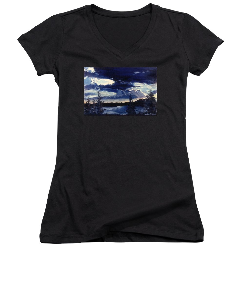 Landscape Women's V-Neck T-Shirt featuring the painting Evening Lake by Steve Karol