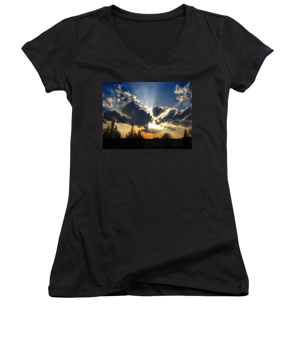 Landscape Women's V-Neck (Athletic Fit) featuring the photograph Evening Sky by Steve Karol