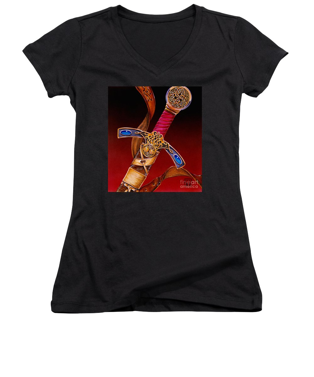 Swords Women's V-Neck (Athletic Fit) featuring the mixed media Excalibur by Melissa A Benson