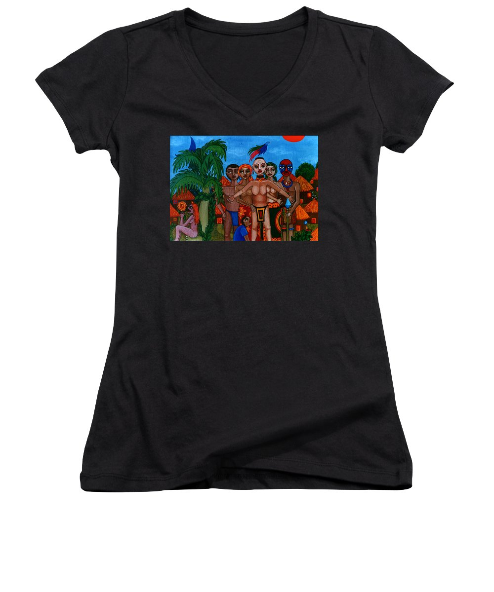 Homeland Women's V-Neck T-Shirt featuring the painting Exiled In Homeland by Madalena Lobao-Tello