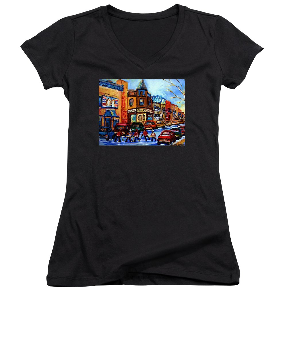 Hockey Women's V-Neck T-Shirt featuring the painting Fairmount Bagel With Hockey Game by Carole Spandau