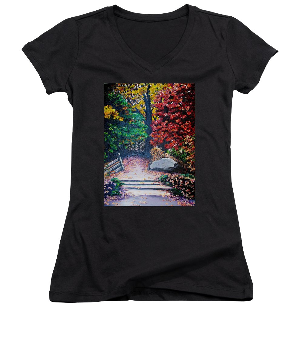 A N Original Painting Of An Autumn Scene In The Gateneau In Quebec Women's V-Neck (Athletic Fit) featuring the painting Fall In Quebec Canada by Karin Dawn Kelshall- Best