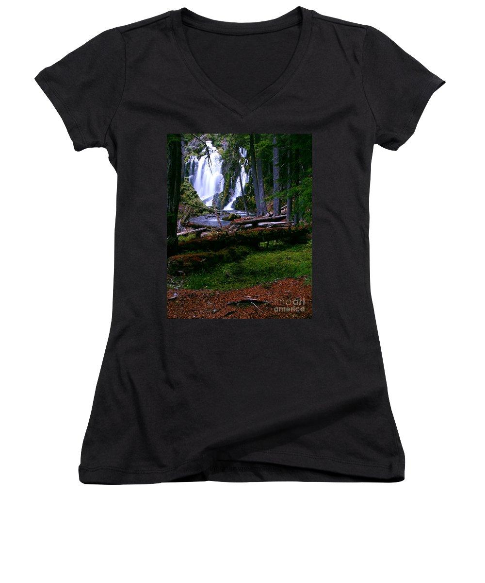 Waterfall Women's V-Neck T-Shirt featuring the photograph Fall Through by Peter Piatt
