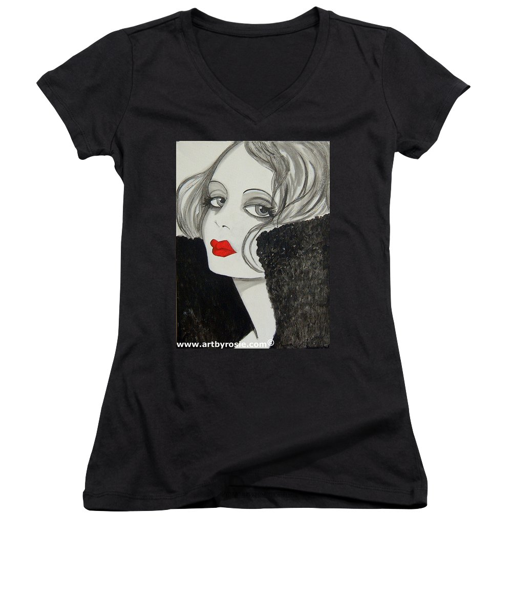 Cinema Women's V-Neck T-Shirt featuring the painting Femme Fatale by Rosie Harper