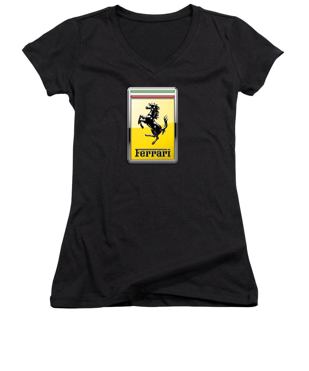 �auto Badges� Collection By Serge Averbukh Women's V-Neck featuring the photograph Ferrari 3d Badge- Hood Ornament On Black by Serge Averbukh