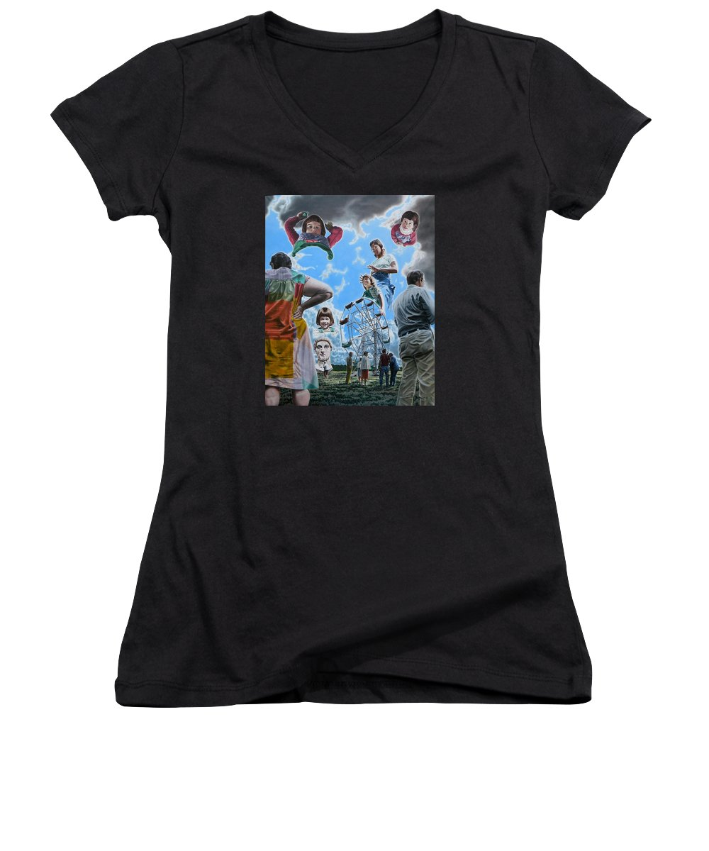Woman Women's V-Neck (Athletic Fit) featuring the painting Ferris Wheel by Dave Martsolf