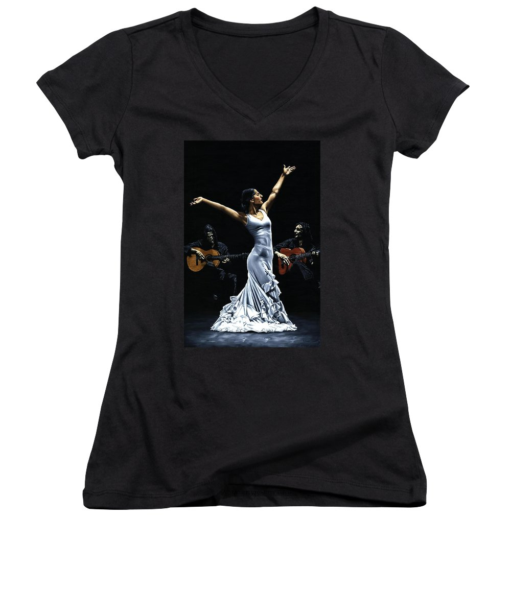 Flamenco Women's V-Neck (Athletic Fit) featuring the painting Finale Del Funcionamiento Del Flamenco by Richard Young