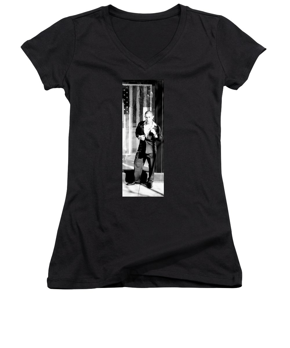 America Women's V-Neck (Athletic Fit) featuring the photograph Fine American Model by Angus Hooper Iii