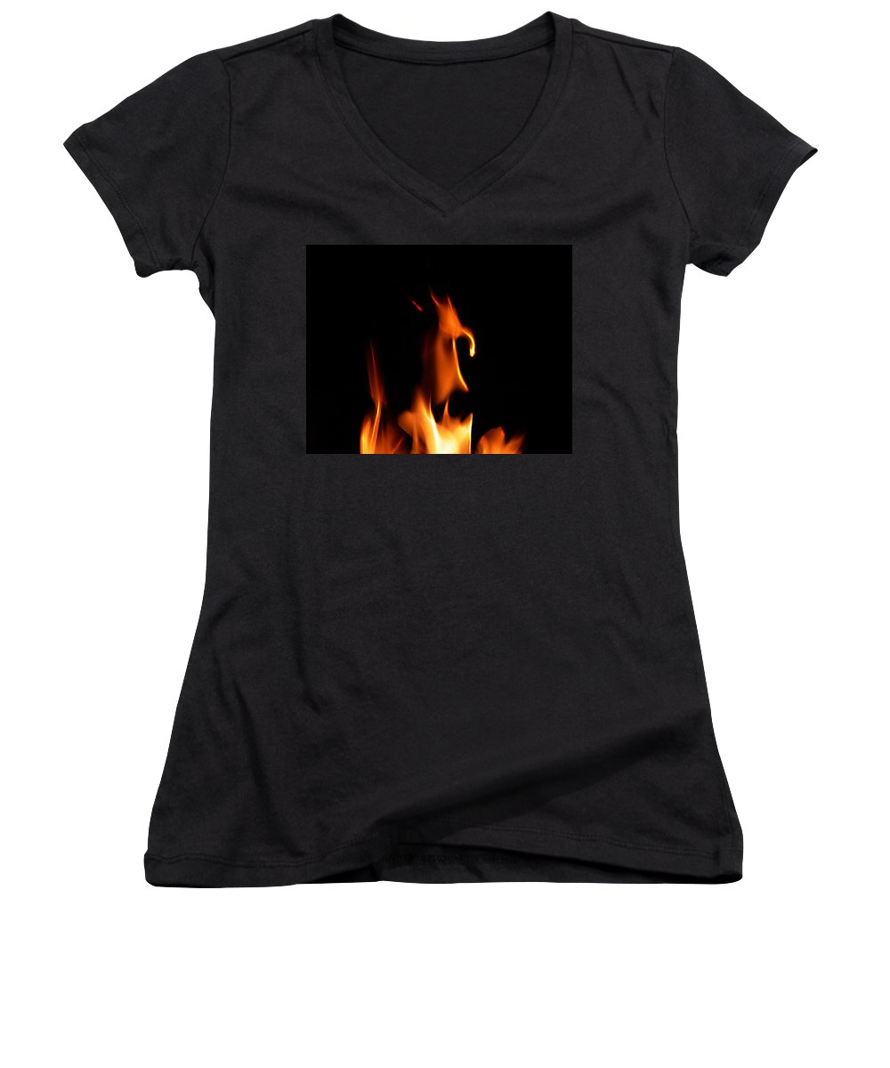 Cartoon Character Fire Women's V-Neck (Athletic Fit) featuring the photograph Fire Toon by Peter Piatt