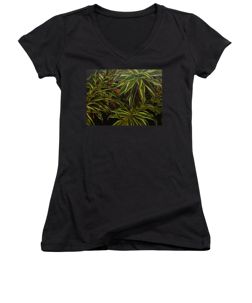 Leaves Women's V-Neck T-Shirt featuring the painting First In Cabot by Thu Nguyen