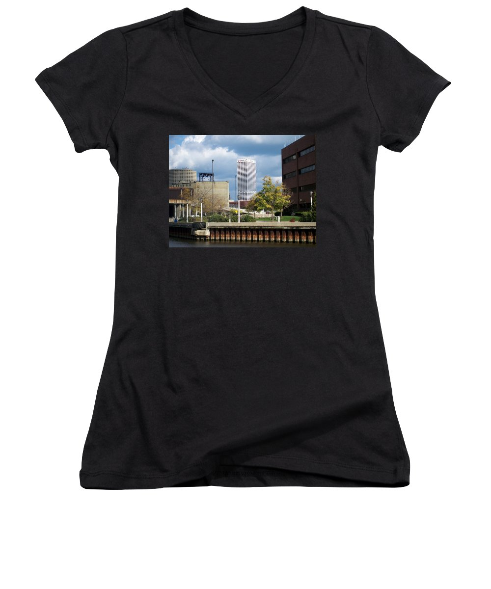 First Star Bank Women's V-Neck (Athletic Fit) featuring the photograph First Star View From River by Anita Burgermeister
