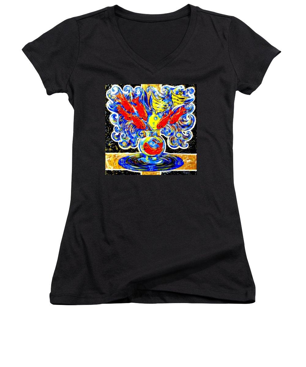 Inga Vereshchagina Women's V-Neck T-Shirt featuring the painting Fish Bouquet by Inga Vereshchagina