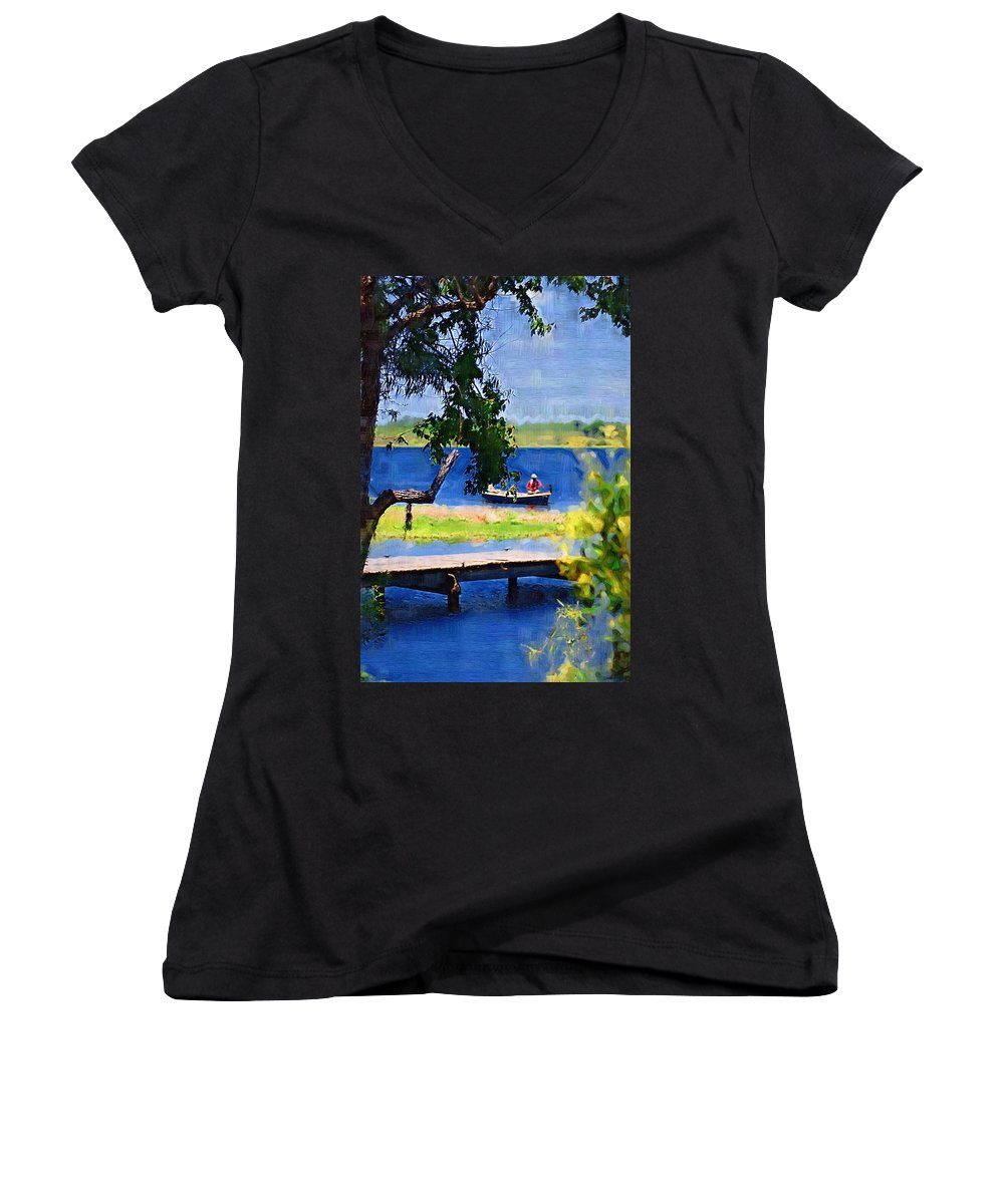 Ponds Women's V-Neck T-Shirt featuring the photograph Fishin by Donna Bentley