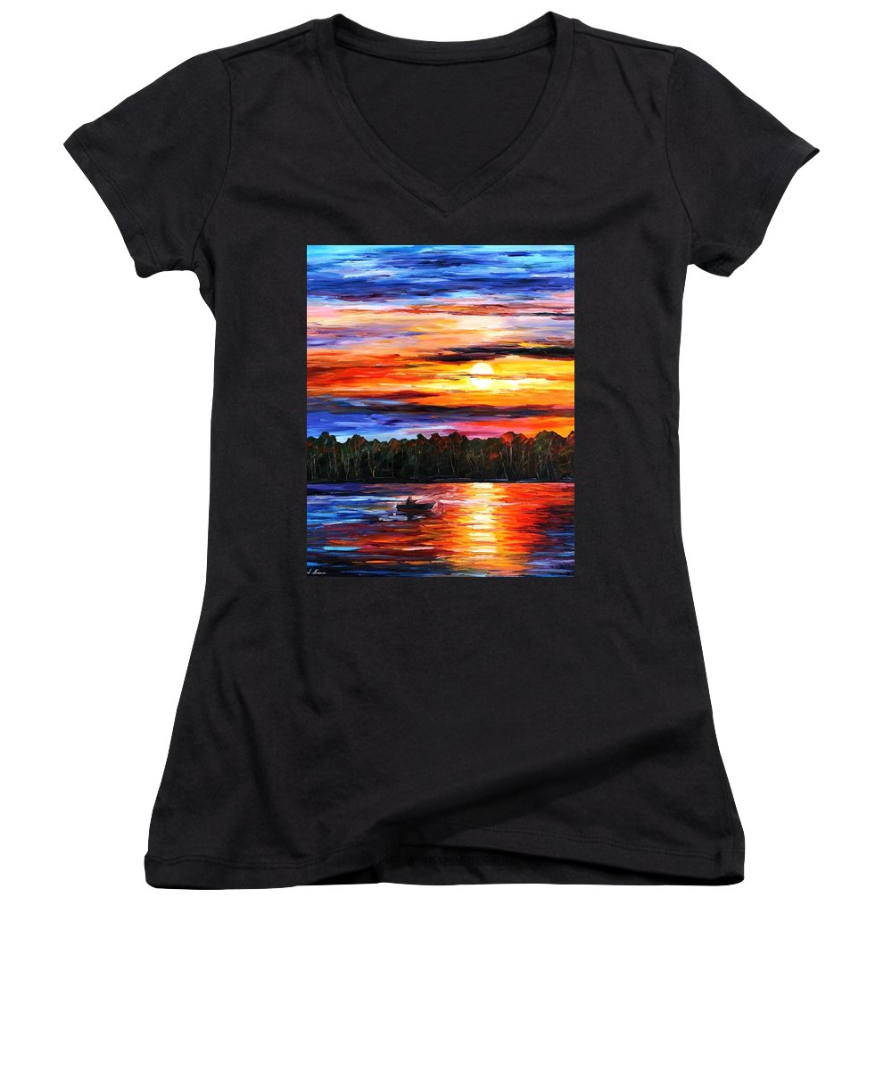 Seascape Women's V-Neck (Athletic Fit) featuring the painting Fishing By The Sunset by Leonid Afremov