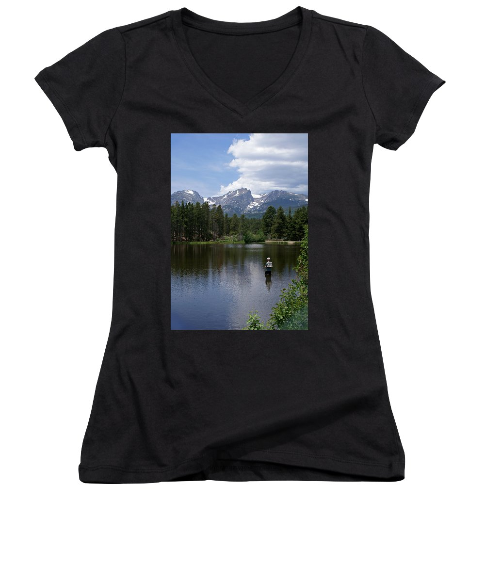 Fishing Women's V-Neck T-Shirt featuring the photograph Fishing In Colorado by Heather Coen