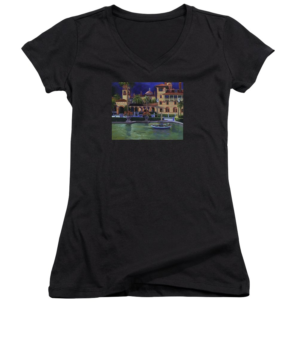 St. Augustine\'s Flagler College Campus Women's V-Neck T-Shirt featuring the painting Flagler College II by Christine Cousart