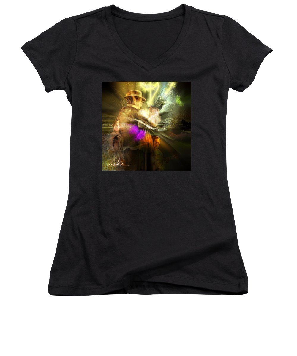 Spain Women's V-Neck (Athletic Fit) featuring the painting Flamenco by Miki De Goodaboom