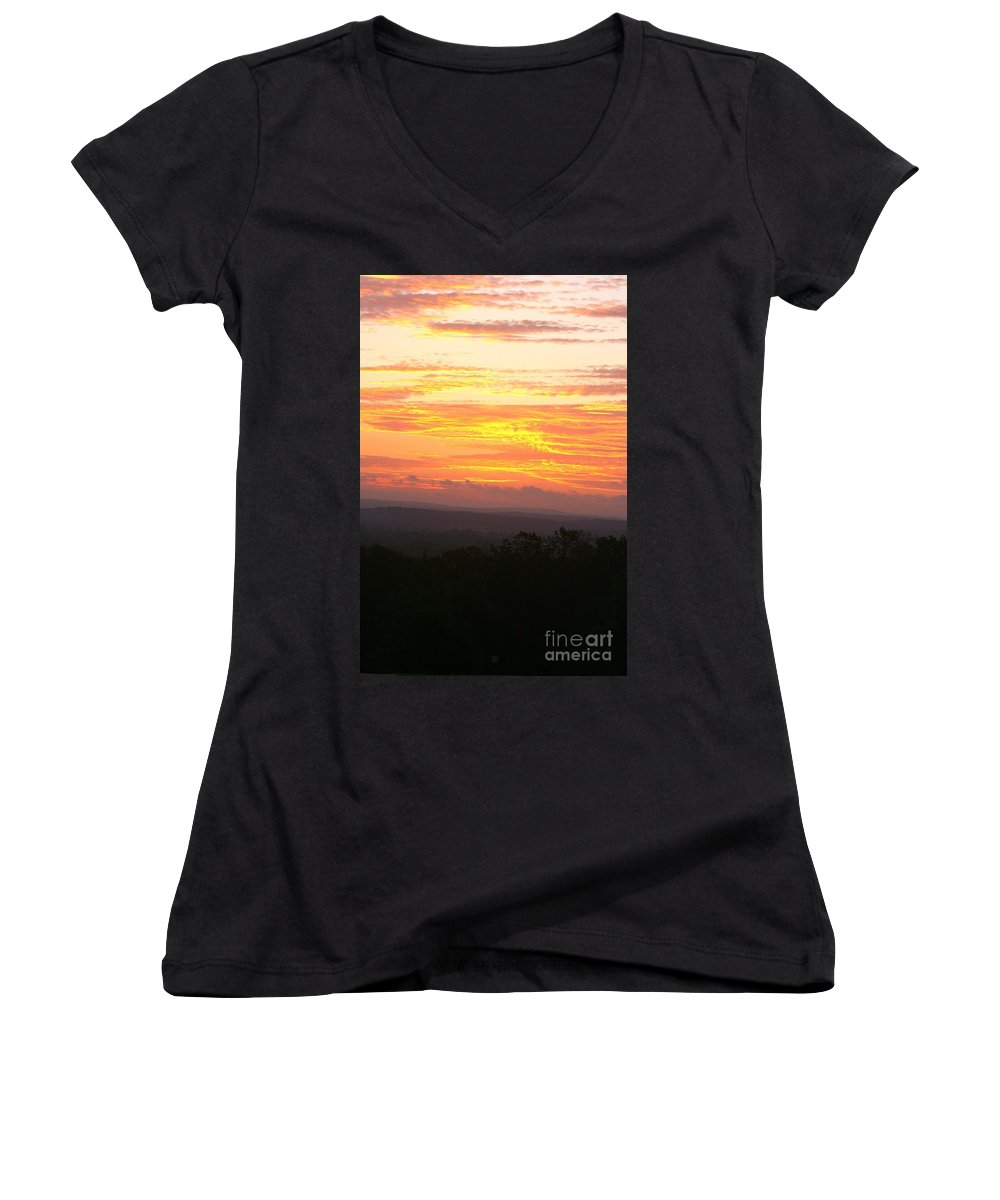 Sunrise Women's V-Neck (Athletic Fit) featuring the photograph Flaming Autumn Sunrise by Nadine Rippelmeyer