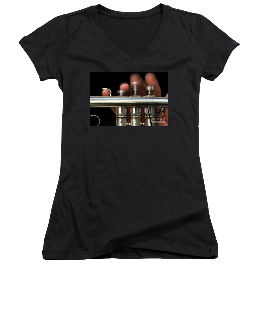 Trumpet Women's V-Neck T-Shirt featuring the photograph Flight Of The Bumblebee by Dan Holm