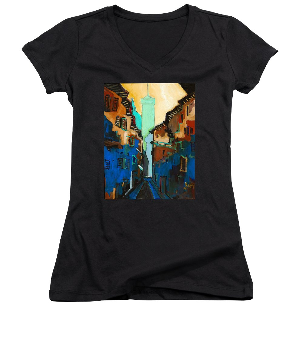 Florence Women's V-Neck T-Shirt featuring the painting Florence Street Study by Kurt Hausmann