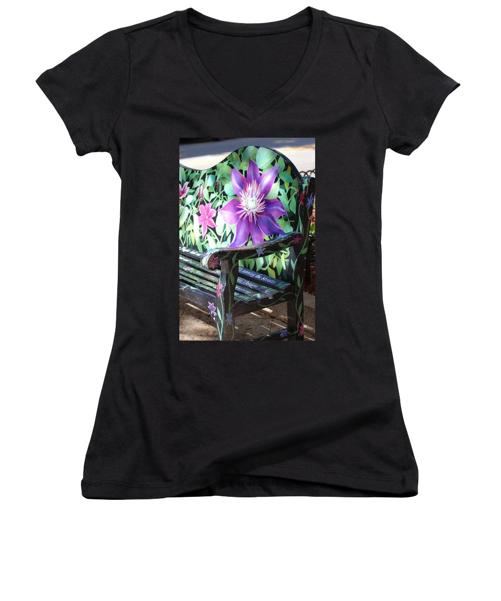 Macro Women's V-Neck (Athletic Fit) featuring the photograph Flower Bench by Rob Hans