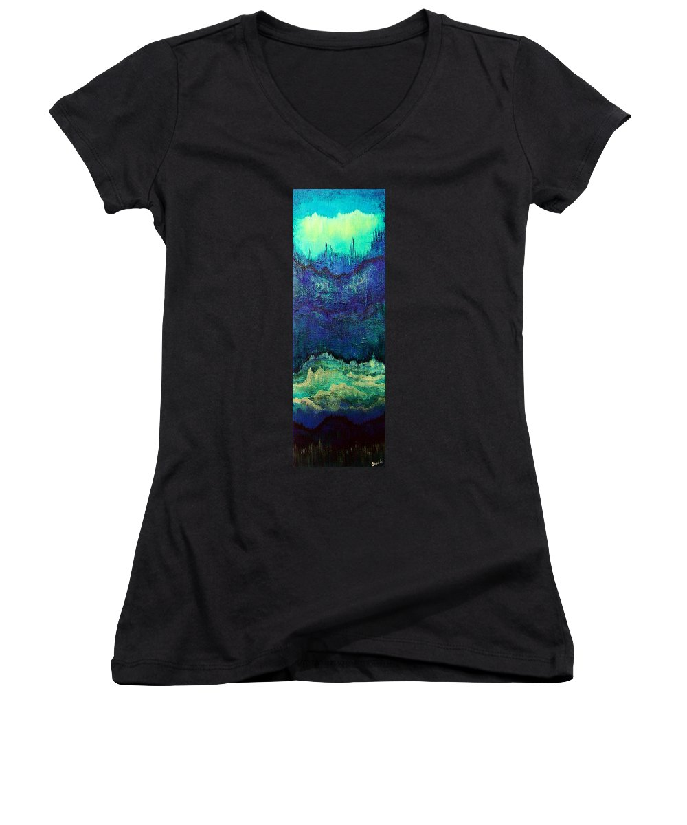 Blue Women's V-Neck T-Shirt featuring the painting For Linda by Shadia Derbyshire