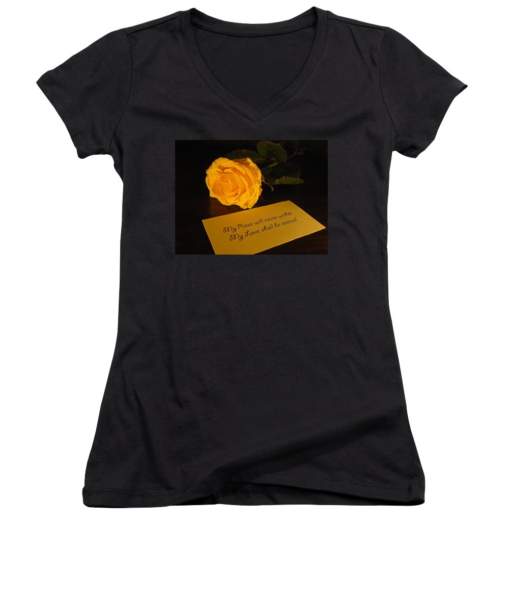 Valentine Women's V-Neck T-Shirt featuring the photograph For My Love by Daniel Csoka