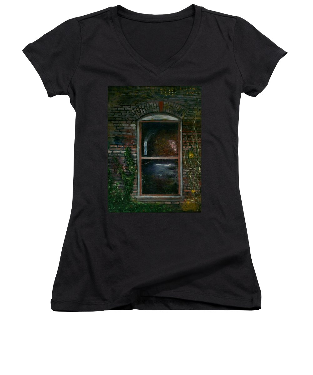 Landscape Women's V-Neck T-Shirt featuring the painting For Rent by Stephen King